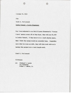 Thumbnail of Memorandum from Mark H. McCormack concerning the Jackie Stewart and Sports Illustrated file