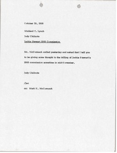 Thumbnail of Memorandum from Judy Chilcote to Michael T. Lynch