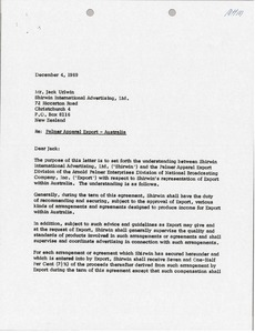 Thumbnail of Letter from Arnold Palmer Enterprises to Jack Urlwin