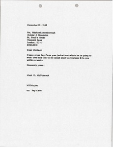 Thumbnail of Letter from Mark H. McCormack to Michael Attenborough