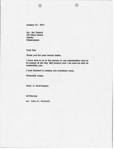 Thumbnail of Letter from Mark H. McCormack to Jim Patrick