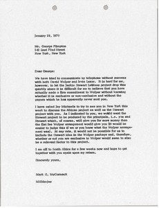 Thumbnail of Letter from Mark H. McCormack to George Plimpton