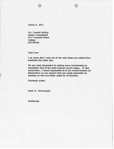 Thumbnail of Letter from Mark H. McCormack to Donald McKay