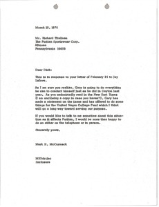 Thumbnail of Letter from Mark H. McCormack to Richard Titelman