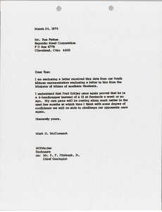 Thumbnail of Letter from Mark H. McCormack to Tom Patton
