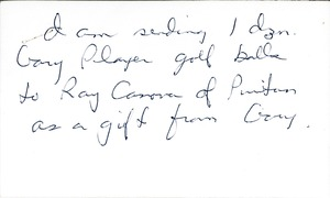 Thumbnail of Note from unidentified correspondent regarding Gary Player golf balls