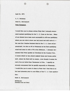 Thumbnail of Memorandum from Mark H. McCormack to A. F. Mulberry