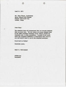 Thumbnail of Letter from Mark H. McCormack to Gary Player