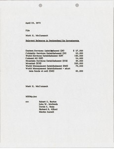 Thumbnail of Memorandum concerning relevant balances in Switzerland for investments