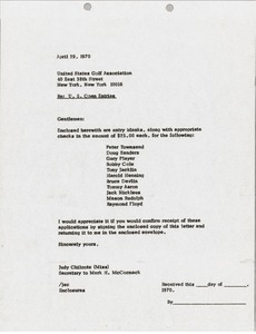 Thumbnail of Letter from Judy Chilcote to United States Golf Association