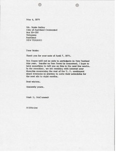 Thumbnail of Letter from Mark H. McCormack to Robin Bailey
