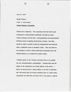 Thumbnail of Memorandum from Mark H. McCormack to Richie Benaud