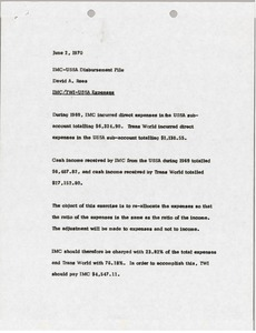 Thumbnail of Memorandum from David A. Rees to International Merchandising Corporation-United States Ski Association Disbursement File