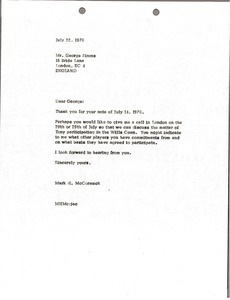 Thumbnail of Letter from Mark H. McCormack to George Simms
