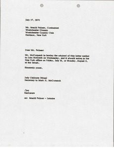 Thumbnail of Letter from Judy Chilcote to Arnold Palmer