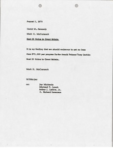 Thumbnail of Memorandum from Mark H. McCormack to David M. Kennedy