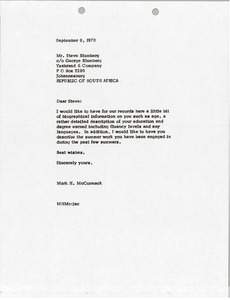 Thumbnail of Letter from Mark H. McCormack to Steve Blumberg