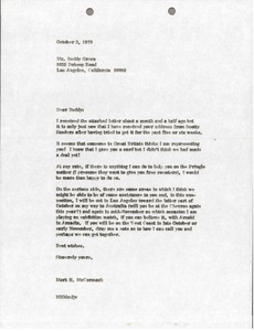 Thumbnail of Letter from Mark H. McCormack to Buddy Greco