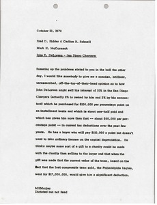 Thumbnail of Memorandum from Mark H. McCormack to Fred D. Kidder and Carlton Schnell