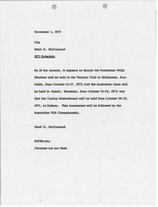 Thumbnail of Memorandum from Mark H. McCormack concerning the 1971 schedule