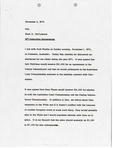 Thumbnail of Memorandum from Mark H. McCormack concerning 1971 Australian appearances