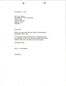 Thumbnail of Letter from Mark H. McCormack to John Wilcox