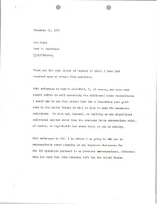 Thumbnail of Memorandum from Mark H. McCormack to Rex Evans