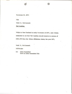 Thumbnail of Memorandum from Mark H. McCormack concerning Ted Lapidus
