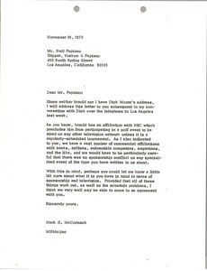 Thumbnail of Letter from Mark H. McCormack to Neil Papiano