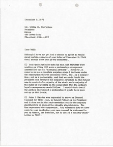 Thumbnail of Letter from Mark H. McCormack to Willis M. McFarlane