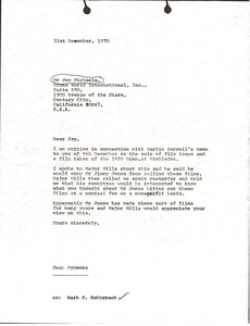 Thumbnail of Letter from Jean Symmons to Jay Michaels