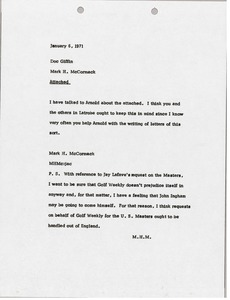 Thumbnail of Memorandum from Mark H. McCormack to Donald W. Giffin