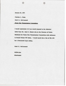 Thumbnail of Memorandum from Mark H. McCormack to Charles L. Foley