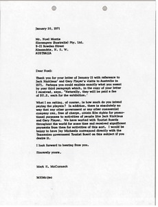 Thumbnail of Letter from Mark H. McCormack to Noel Morris