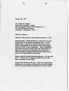 Thumbnail of Letter from Mark H. McCormack to Robert E. Templin