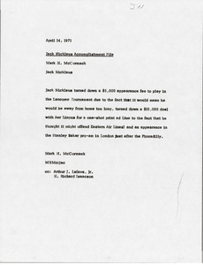 Thumbnail of Memorandum from Mark H. McCormack to Jack Nicklaus accomplishment file