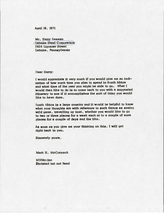 Thumbnail of Letter from Mark H. McCormack to Harry Saxman