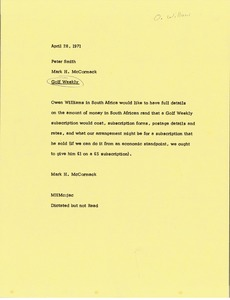 Thumbnail of Memorandum from Mark H. McCormack to Peter Smith