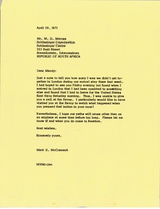 Thumbnail of Letter from Mark H. McCormack to M. D. Maross