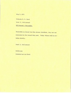 Thumbnail of Memorandum from Mark H. McCormack to Malcolm B. S. Bund