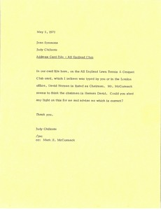 Thumbnail of Letter from Judy A. Chilcote to Jean Symmons