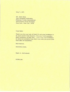 Thumbnail of Letter from Mark H. McCormack to Jerry Ross
