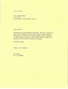 Thumbnail of Letter from Mark H. McCormack to Arnold Palmer