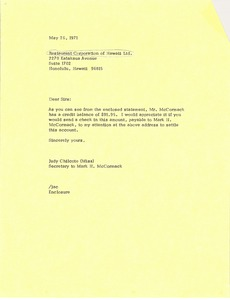 Thumbnail of Letter from Judy Chilcote to Restaurant Corp. of Hawaii, Ltd.