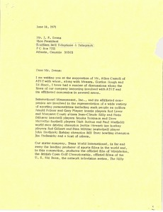 Thumbnail of Letter from Mark H. McCormack to J. P. Evans