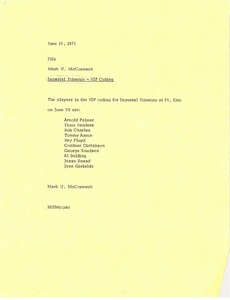 Thumbnail of Memorandum from Mark H. McCormack concerning the VIP outing for Imperial Tobacco