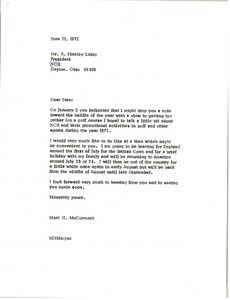 Thumbnail of Letter from Mark H. McCormack to R. Stanley Laing