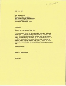 Thumbnail of Letter from Mark H. McCormack to Robert Cole
