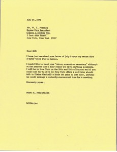 Thumbnail of Letter from Mark H. McCormack to W. E. Phillips
