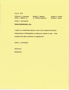 Thumbnail of Memorandum from Mark H. McCormack to executive staff
